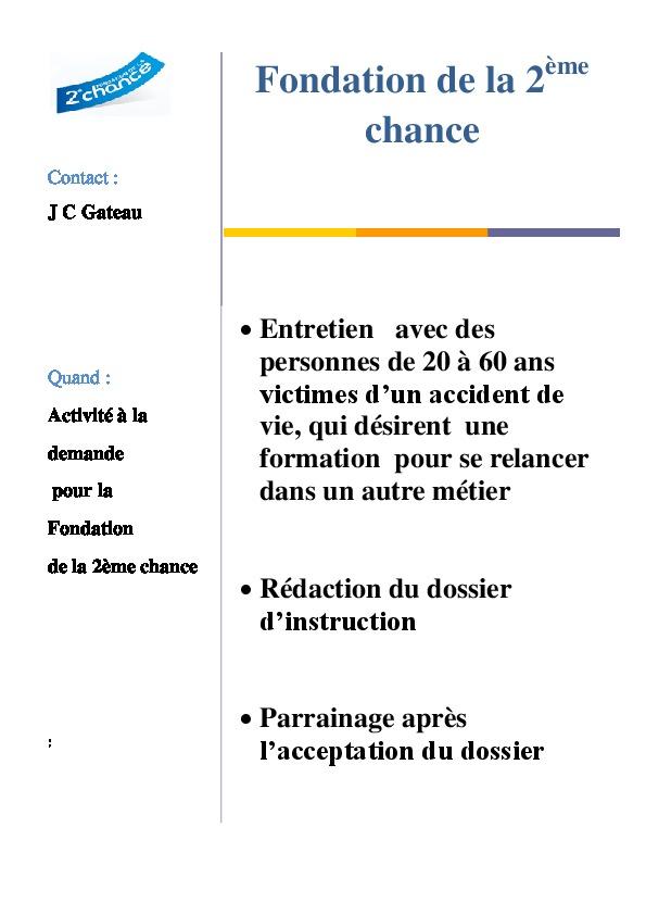 Fiche IP2 fondation 2ieme chance