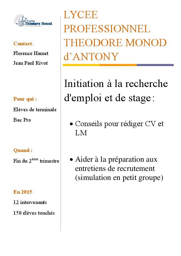 Fiche IP6 Lycee Monod